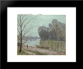 Banks Of The Loing, Winter:  Modern Black Framed Art Print by Alfred Sisley