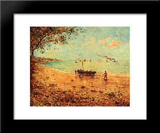 A Beach In Normandy:  Modern Black Framed Art Print by Alfred Stevens