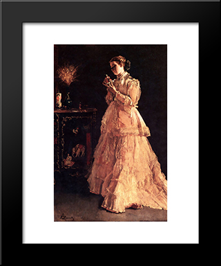 A Doll:  Modern Black Framed Art Print by Alfred Stevens