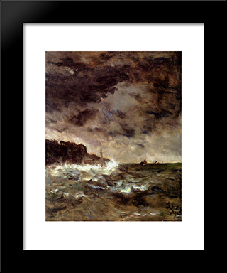 A Stormy Night:  Modern Black Framed Art Print by Alfred Stevens