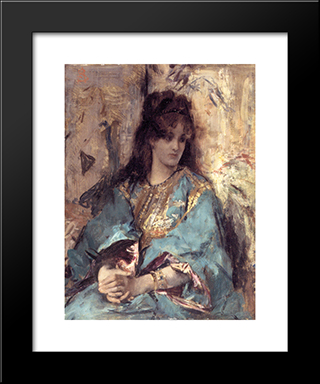 A Woman Seated In Oriental Dress:  Modern Black Framed Art Print by Alfred Stevens