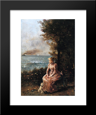A Young Girl Seated By A Tree:  Modern Black Framed Art Print by Alfred Stevens