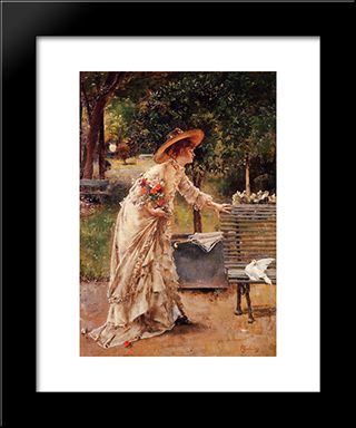 Afternoon In The Park:  Modern Black Framed Art Print by Alfred Stevens