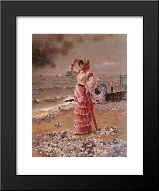 An Elegant Woman:  Modern Black Framed Art Print by Alfred Stevens
