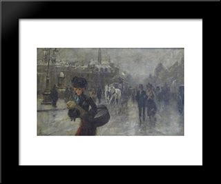 Elegant On The Boulevards:  Modern Black Framed Art Print by Alfred Stevens