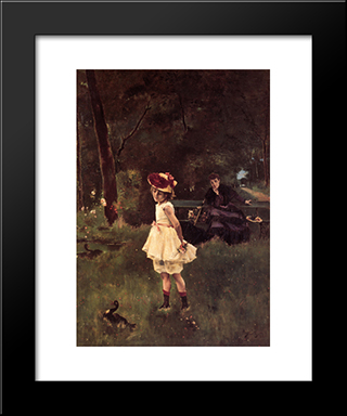 Girl With Duck:  Modern Black Framed Art Print by Alfred Stevens