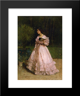 In The Garden:  Modern Black Framed Art Print by Alfred Stevens