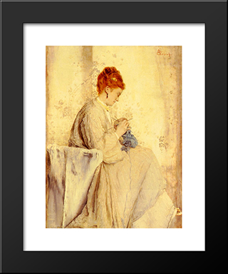 Knitter:  Modern Black Framed Art Print by Alfred Stevens