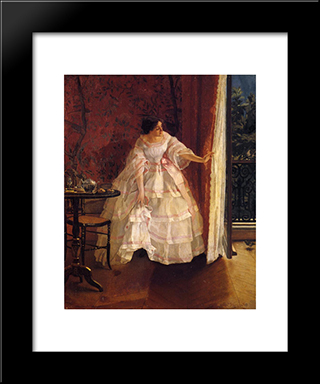 Lady At A Window Feeding Birds:  Modern Black Framed Art Print by Alfred Stevens