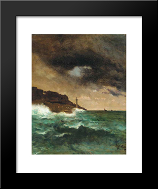 Lighthouse At Dusk:  Modern Black Framed Art Print by Alfred Stevens