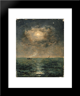 Moonlit Seascape:  Modern Black Framed Art Print by Alfred Stevens