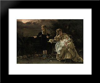 Mother And Children:  Modern Black Framed Art Print by Alfred Stevens