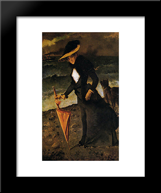 On A Stroll:  Modern Black Framed Art Print by Alfred Stevens