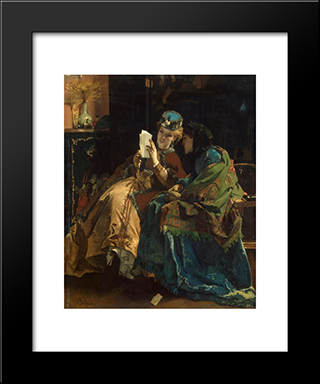 Pleasant Letter:  Modern Black Framed Art Print by Alfred Stevens
