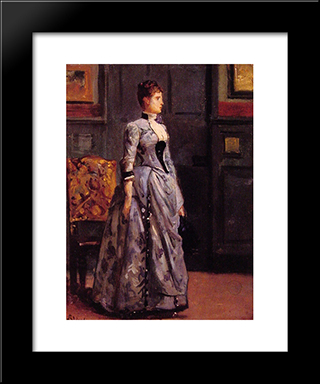 Portrait Of A Woman In Blue:  Modern Black Framed Art Print by Alfred Stevens