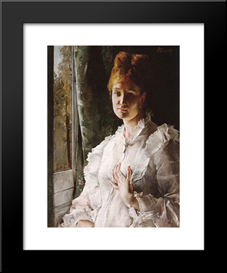Portrait Of A Woman In White:  Modern Black Framed Art Print by Alfred Stevens