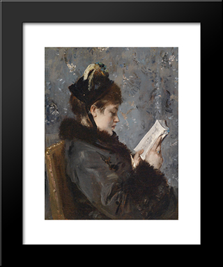 Portrait Of A Young Lady:  Modern Black Framed Art Print by Alfred Stevens