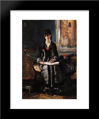 Portrait Of A Young Woman:  Modern Black Framed Art Print by Alfred Stevens