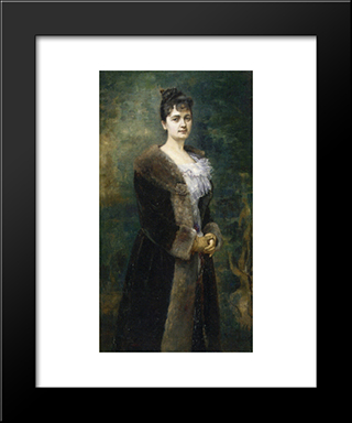Portrait Of M. L. Bion:  Modern Black Framed Art Print by Alfred Stevens