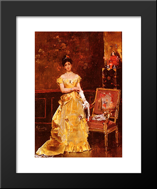 Preparing For The Ball:  Modern Black Framed Art Print by Alfred Stevens