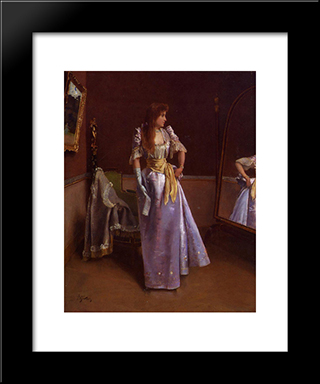 Ready For The Ball:  Modern Black Framed Art Print by Alfred Stevens