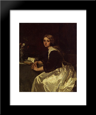 Reverie:  Modern Black Framed Art Print by Alfred Stevens