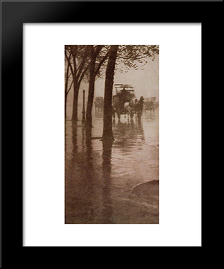 Spring Showers, The Coach:  Modern Black Framed Art Print by Alfred Stieglitz