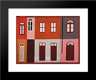 Casas:  Modern Black Framed Art Print by Alfredo Volpi