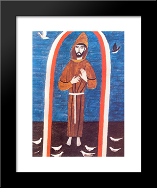Saint Francis:  Modern Black Framed Art Print by Alfredo Volpi