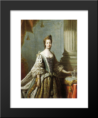 Charlotte Sophia Of Mecklenburg-Strelitz:  Modern Black Framed Art Print by Allan Ramsay