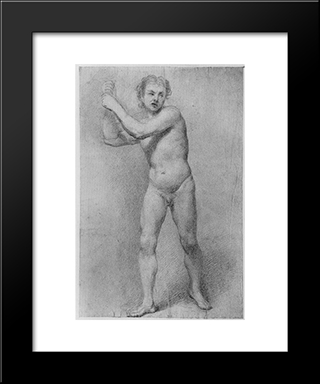 Nude Study Of A Striding Man With Stone Sling:  Modern Black Framed Art Print by Allan Ramsay