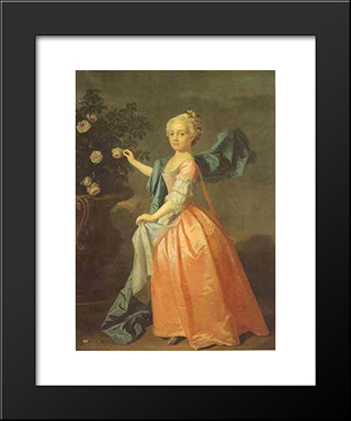 Portrait Of Agnes Murray Kynnynmond:  Modern Black Framed Art Print by Allan Ramsay