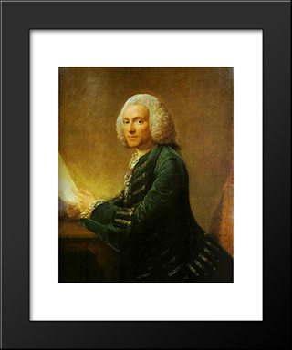 Portrait Of Dr.William Hunter:  Modern Black Framed Art Print by Allan Ramsay