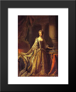 Portrait Of Queen Charlotte:  Modern Black Framed Art Print by Allan Ramsay