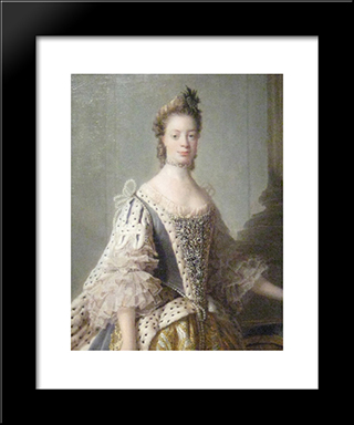 Portrait Of Sophia Charlotte Of Mecklenburg-Strelitz, Wife Of King George Iii:  Modern Black Framed Art Print by Allan Ramsay