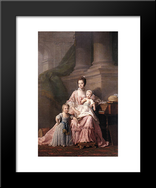 Queen Charlotte With Her Two Children:  Modern Black Framed Art Print by Allan Ramsay