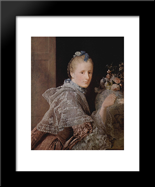 The Painter'S Wife, Margaret Lindsay:  Modern Black Framed Art Print by Allan Ramsay