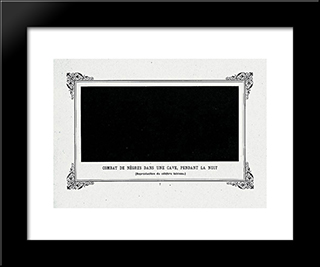 Negroes Fighting In A Tunnel By Night:  Modern Black Framed Art Print by Alphonse Allais