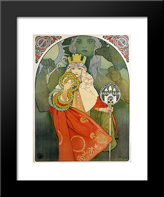 6Th Sokol Festival:  Modern Black Framed Art Print by Alphonse Mucha