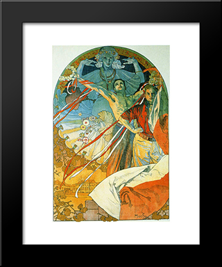 8Th Sokol Festival:  Modern Black Framed Art Print by Alphonse Mucha