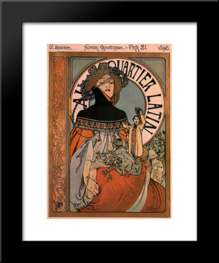 A Quartier Latin:  Modern Black Framed Art Print by Alphonse Mucha