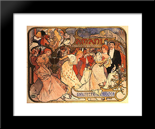 Amants:  Modern Black Framed Art Print by Alphonse Mucha