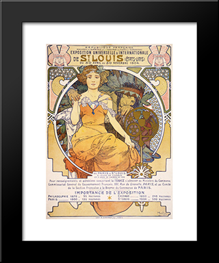 Art Nouveau Color Lithograph Poster Showing A Seated Woman Clasping The Hand Of A Native American:  Modern Black Framed Art Print by Alphonse Mucha