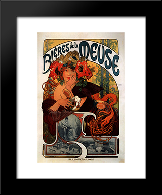 Beer Of The Meuse:  Modern Black Framed Art Print by Alphonse Mucha