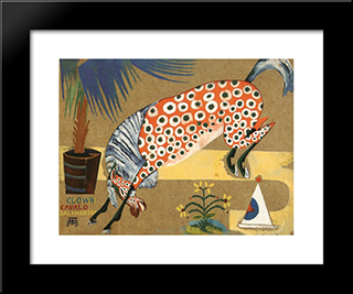Clown, Horse, Salamandra:  Modern Black Framed Art Print by Amadeo de Souza Cardoso