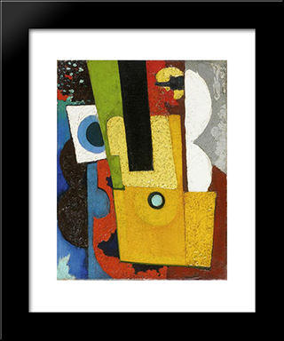 Composition With Guitar:  Modern Black Framed Art Print by Amadeo de Souza Cardoso