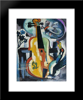 Composition With Violin:  Modern Black Framed Art Print by Amadeo de Souza Cardoso