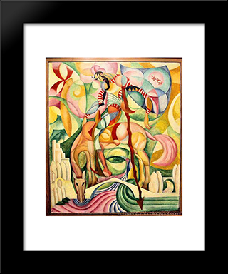 Don Quihote:  Modern Black Framed Art Print by Amadeo de Souza Cardoso