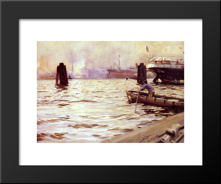 Hamburg Harbour:  Modern Black Framed Art Print by Anders Zorn