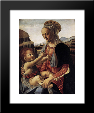 Madonna And Child:  Modern Black Framed Art Print by Andrea del Verrocchio